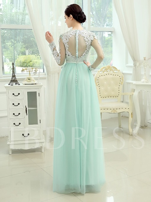 Jewel Neck Long Sleeve A-Line Lace Button Prom Dress