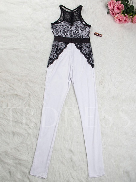 Lace Patchwork Hollow-out Skinny Women's Jumpsuit