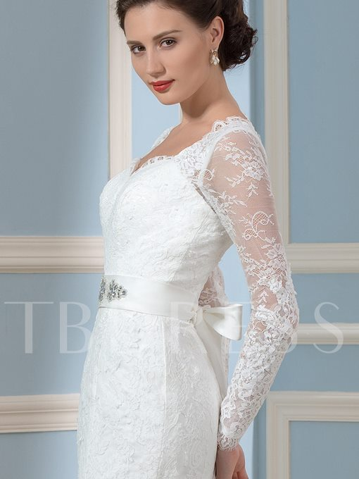 Long Sleeve Lace Mermaid Wedding Dress
