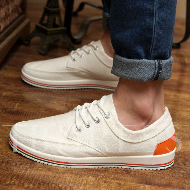 Lace-Up Front Flat Heel Slip-On Men's Canvas