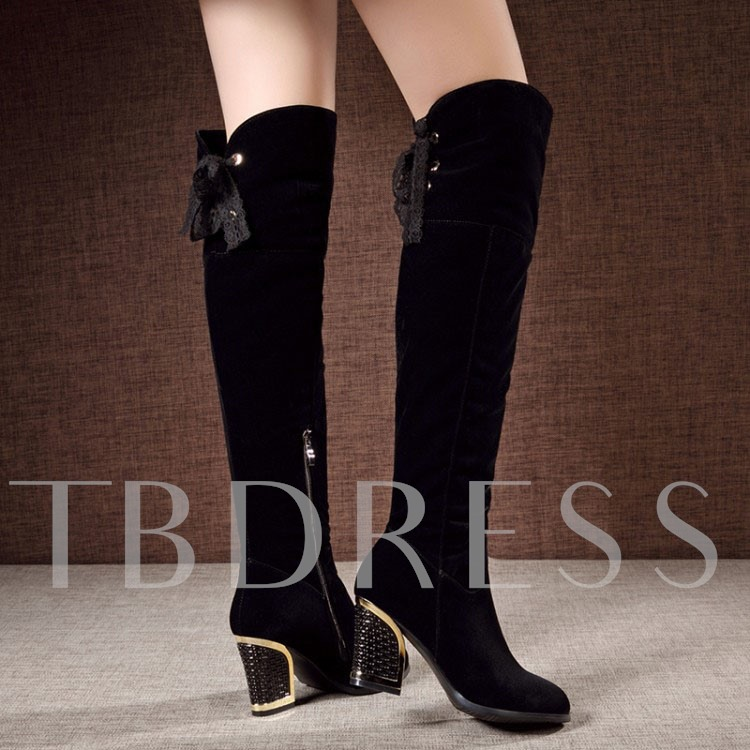 Lace Chunky Heel Side Zipper Over-the-Knee Women's Boots
