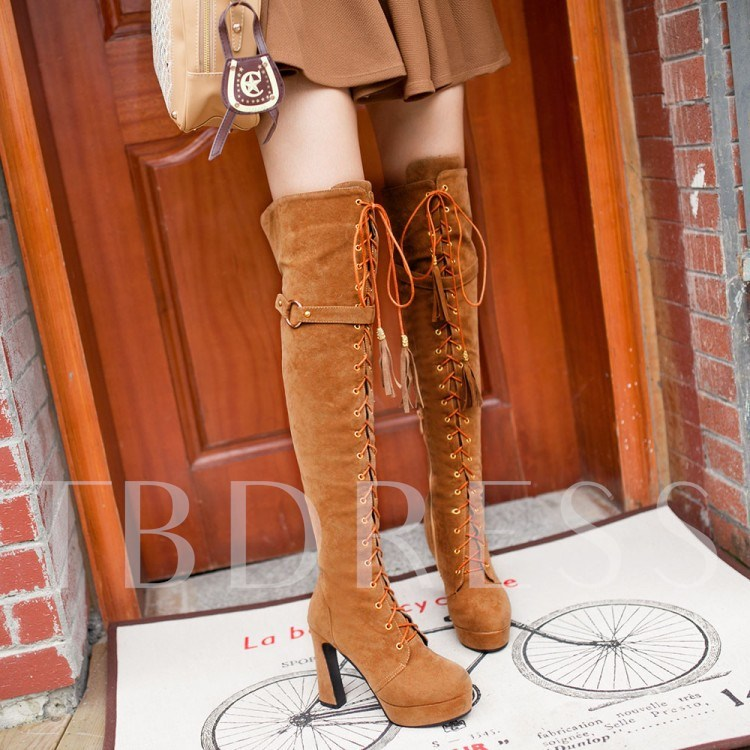 Chunky Heel Short Floss Round Toe Over-the-Knee Women's Boots
