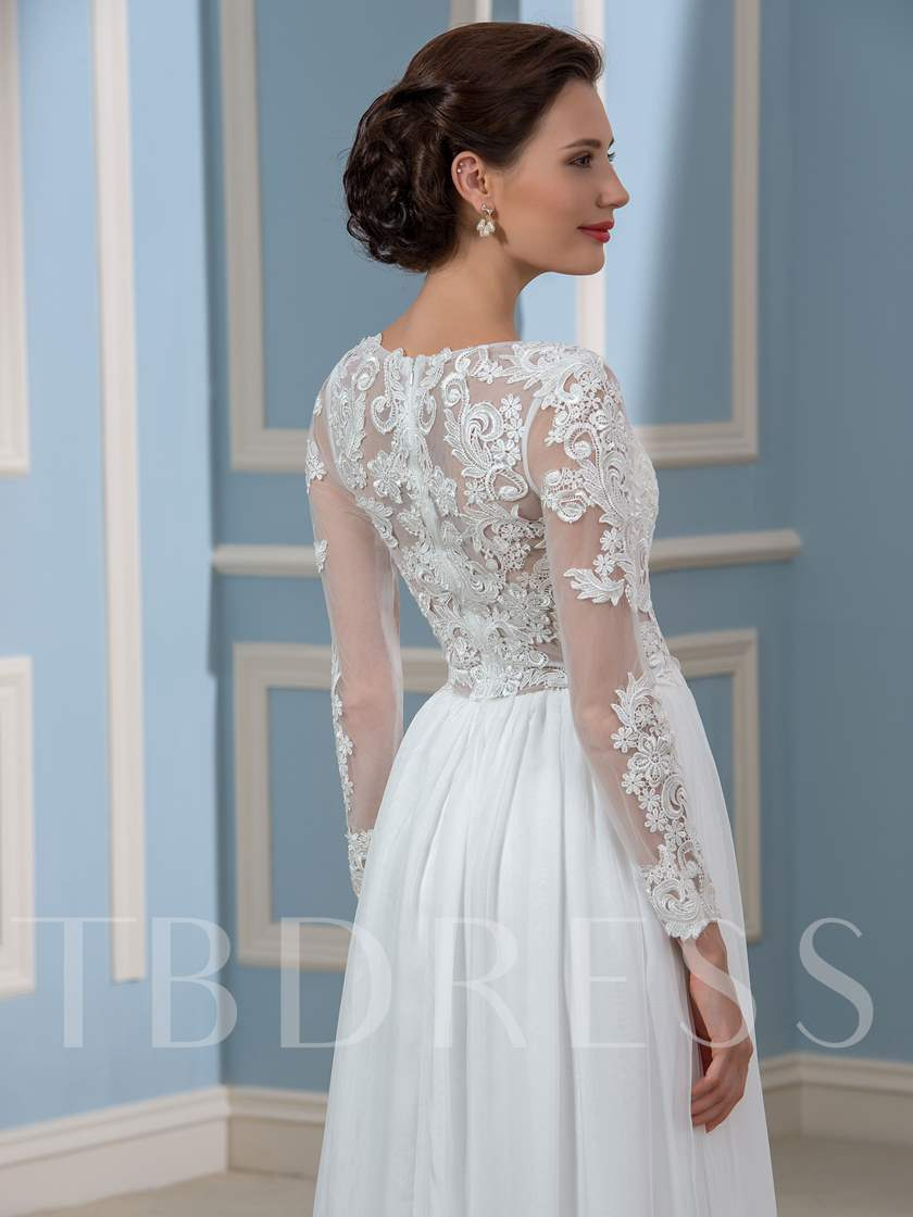 Long Sleeve Split-Front Lace Beach Wedding Dress