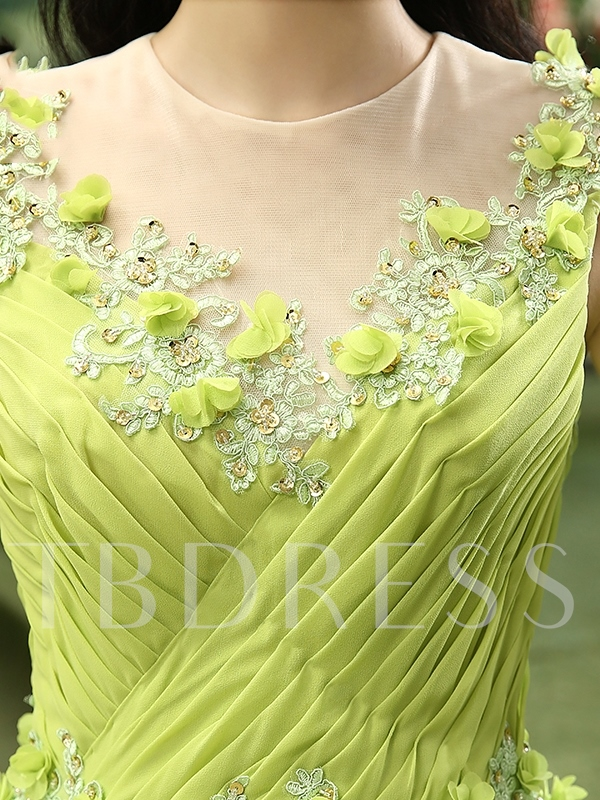 Round Neck Ball Gown Flowers Appliques Ruched Quinceanera Dress