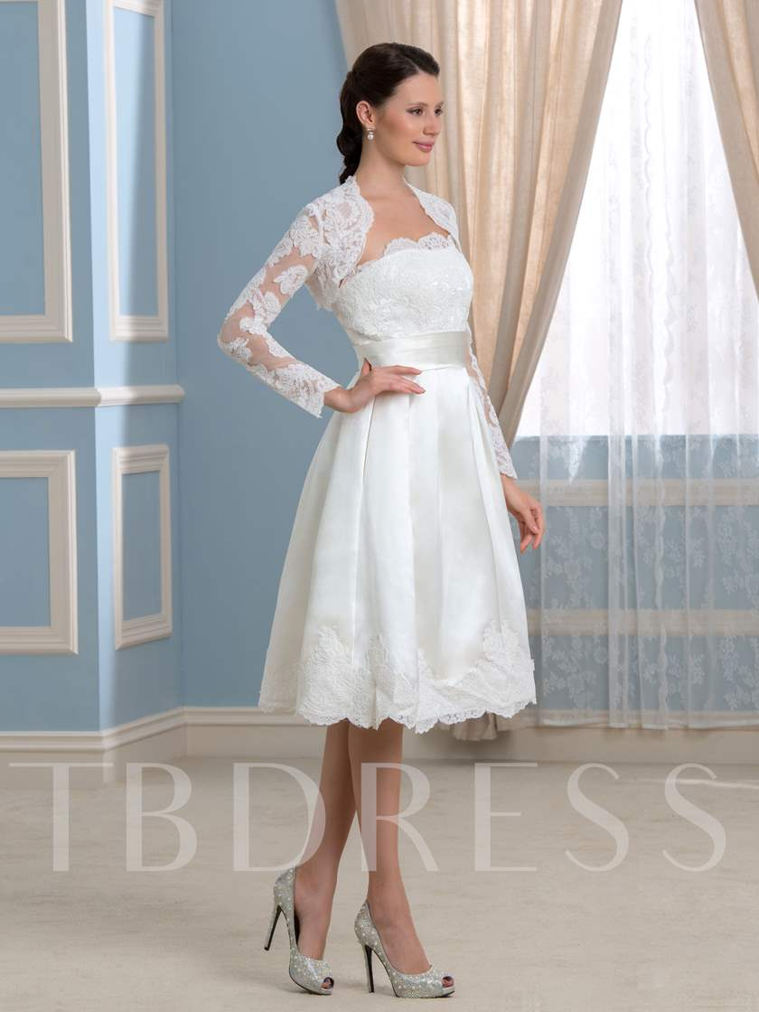 Appliques Short Wedding Dress with Long Sleeve Jacket