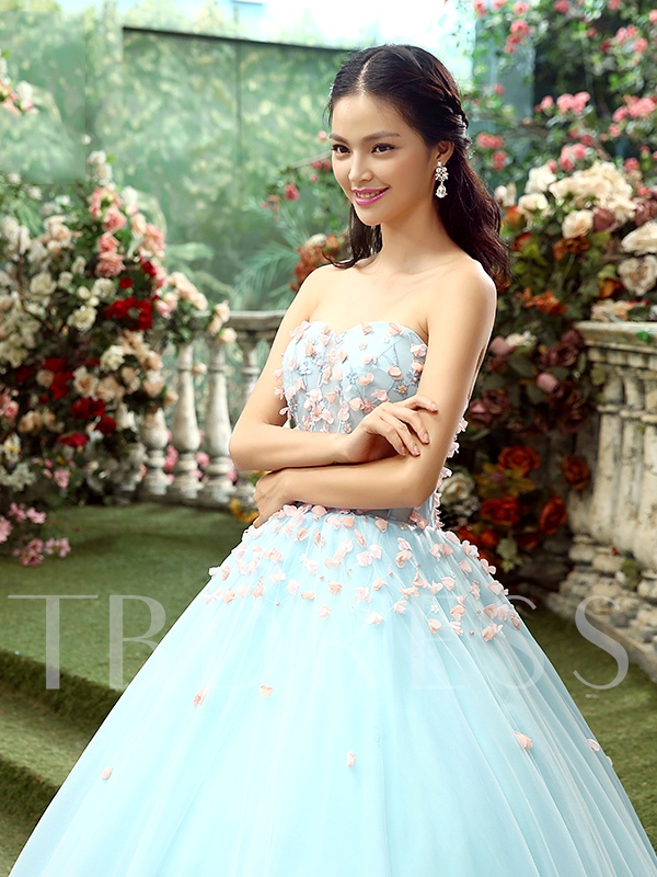 Pearls Sweetheart Flowers Ball Gown Floor-Length Quinceanera Dress