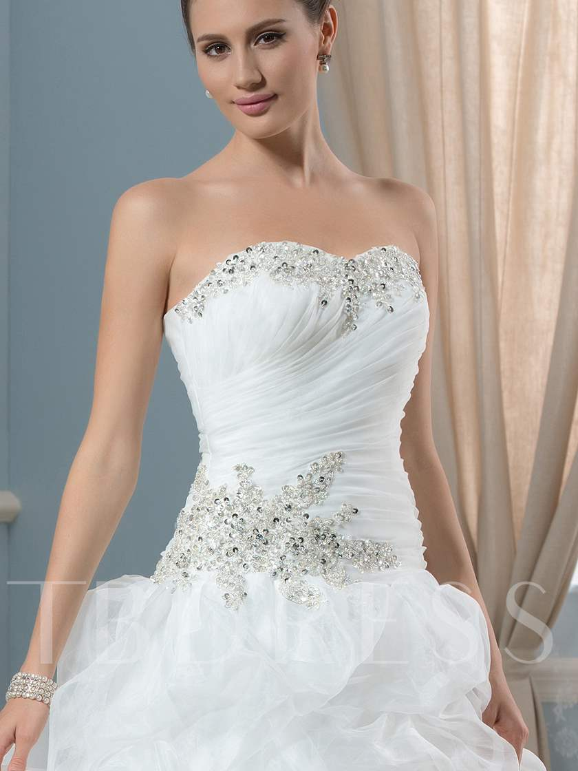 Strapless Appliques Pick-Ups Wedding Dress