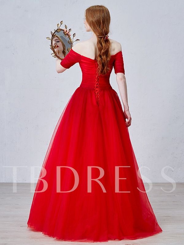 Off-the-shoulder Half Sleeve Long Evening Dress
