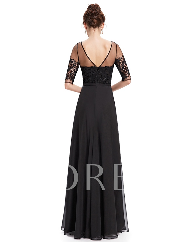 Round Neck A-Line Half Sleeve Lace Evening Dress