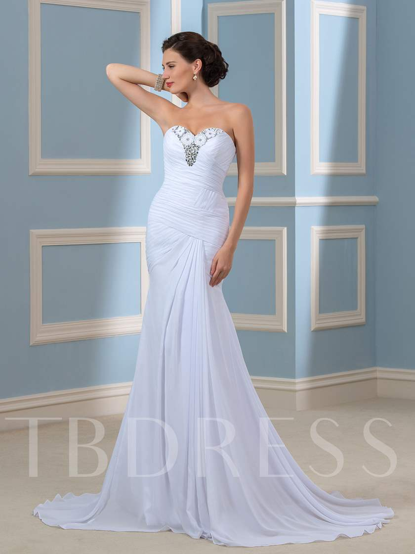 Sheath Beaded Pleated Chiffon Beach Wedding Dress