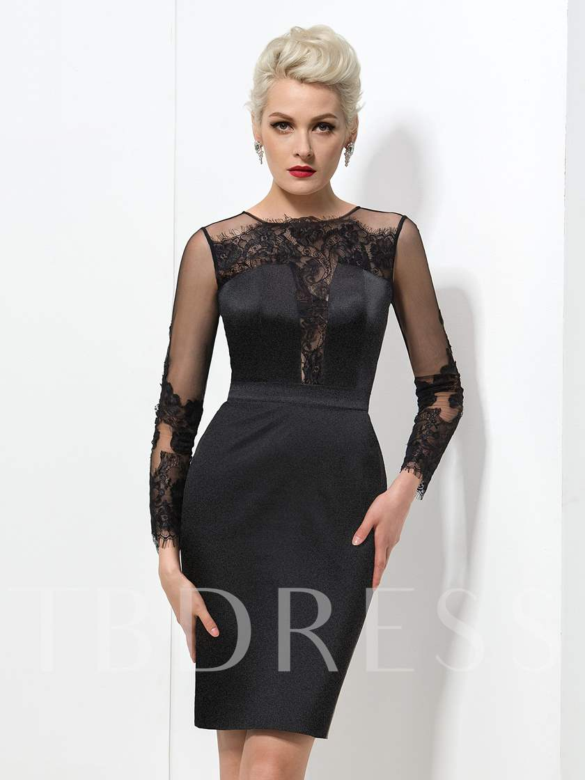 Long Sleeve Jewel Neck Lace Knee-Length Cocktail Dress