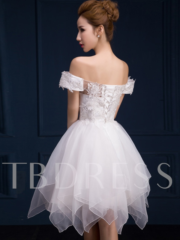 Off-the-Shoulder A-Line Lace Mini Homecoming Dress