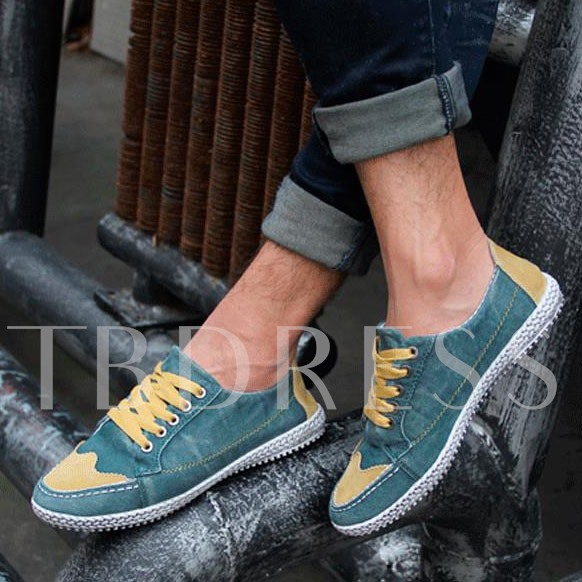 Lace-Up Front Flat Heel Slip-On Low-Cut Upper Men's Canvas