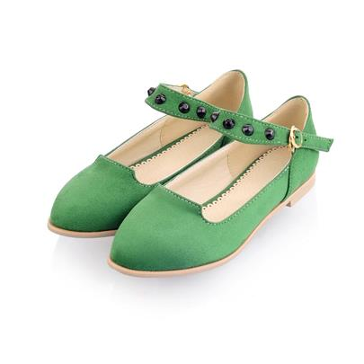 Bead Buckle Round Toe Women's Flats
