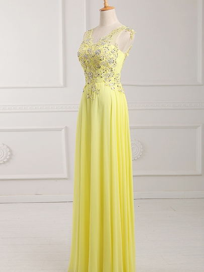 V-Neck Appliques Beaded Floor-Length Prom Dress