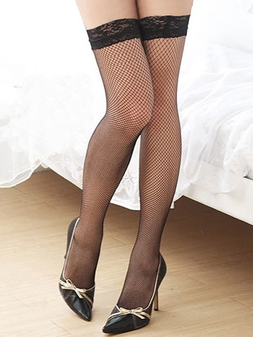 Sexy Solid Color Patchwork Fishnet Stockings
