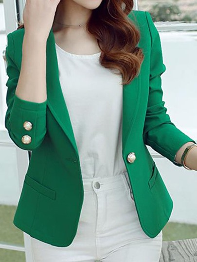 Solid Color One Button Low Price Women's Blazer