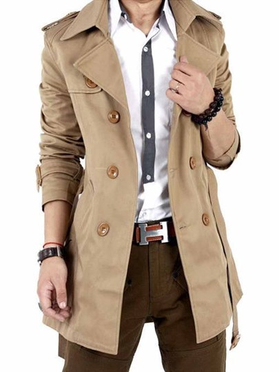 Lapel Midi-Length Plain Men's Trench Coat with Belt