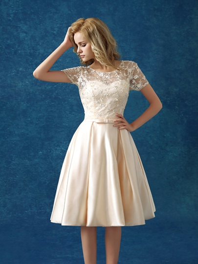 A-Line Short Sleeve Lace Bowknot Short Cocktail Dress