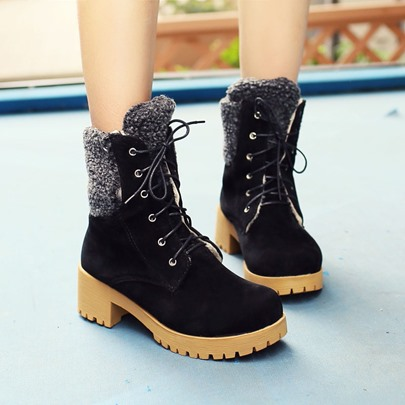 Short Floss Lace-Up Front Round Toe Women's Ankle Boots