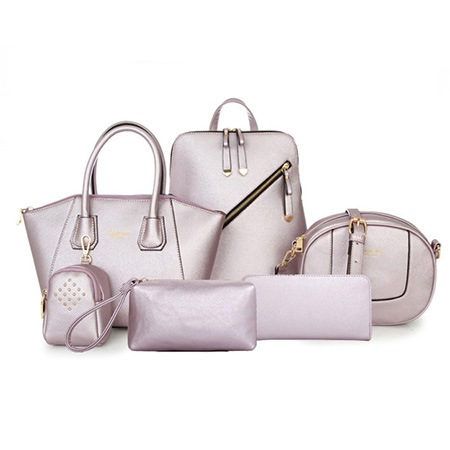 Preppy Classic Solid Color Women Bag Set