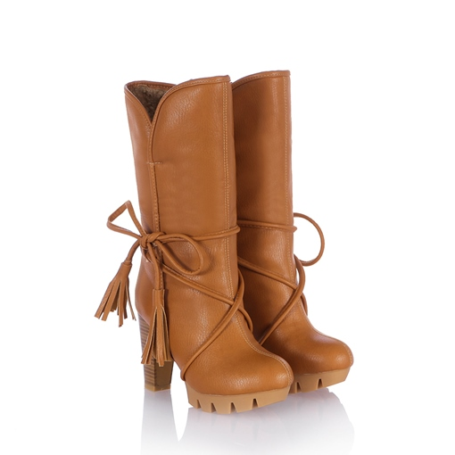 Round Toe Tassel Slip-On Short Floss Ankle Women's Boots