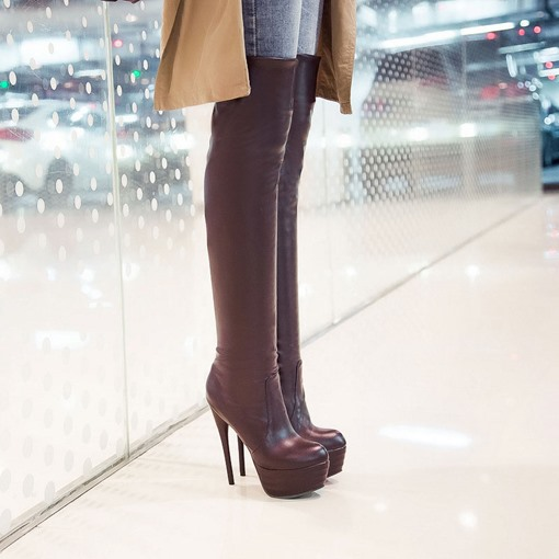 Stiletto Heel Back Zipper Bowtie Round Toe Knee-High Women's Boots
