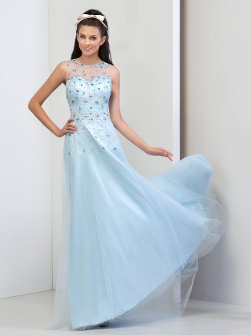Jewel Neck A-Line Beaded Rhinestone Appliques Prom Dress