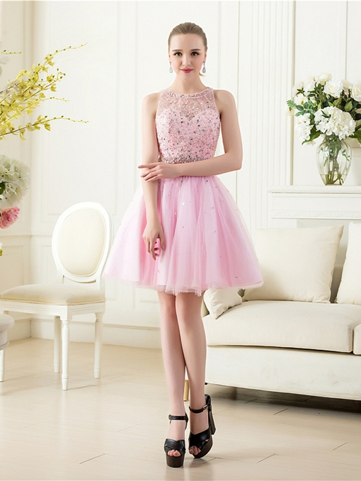 A-Line Scoop Neck Beading Backless Homecoming Dress
