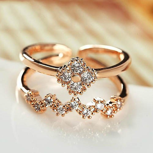 Lightning Double-Layer Rhinestone Ring