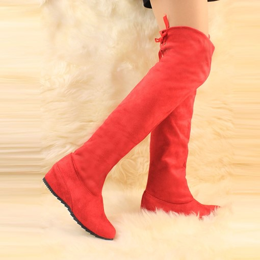 Round Toe Elevator Heel Lace-Up Back Women's Boots
