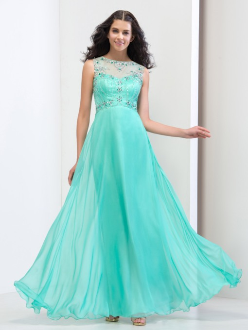 Round Neck A-Line Beading Rhinestone Backless Prom Dress