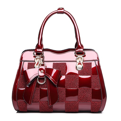 Elegant Color Block Patent PU Tote Bag