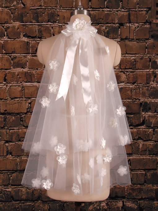 2T Flowers Satin Tulle Wedding Elbow Veil