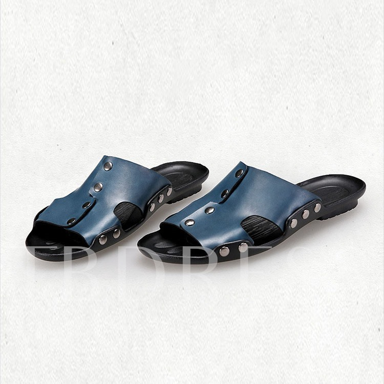 Open Toe Flat Heel Sequins Hollow Men's Sandals