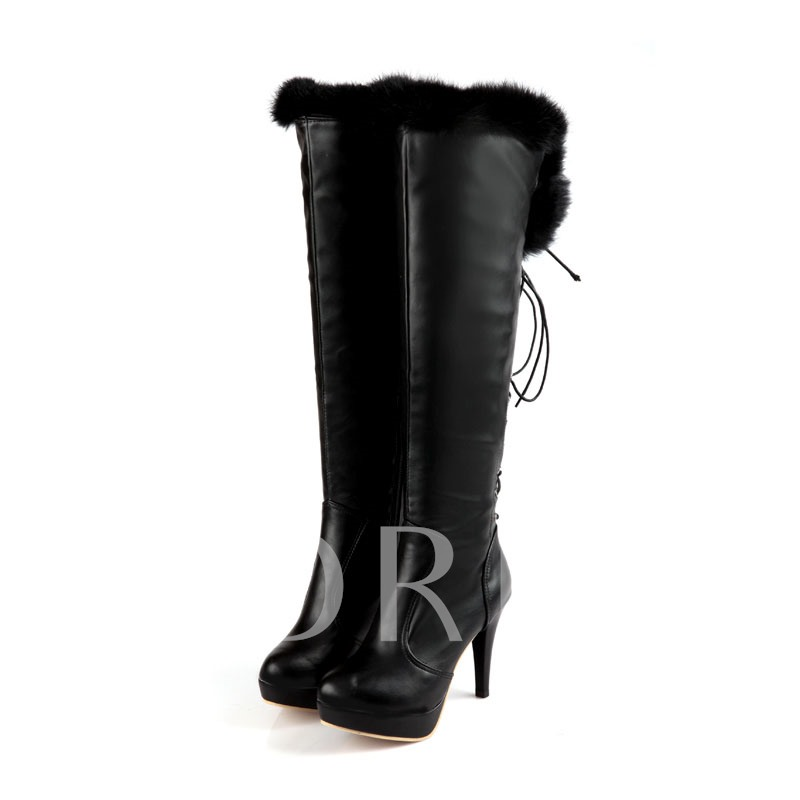 Lace-Up Back Pointed Toe Knee-High Women's Boots