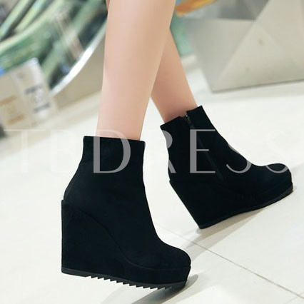Wedge Heel Round Toe Side Zipper Women's Ankle Boots