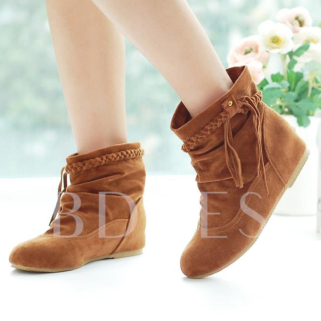 Round Toe Slip-On Ankle Women's Boots
