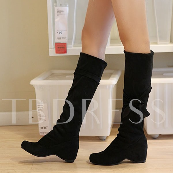 Round Toe Bowtie Slip-On Knee-High Women's Boots