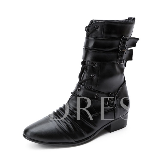 Slip-On Square Low Heel Pointed Toe Buckle Men's Ankle Boots