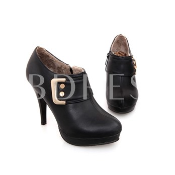 Side Zipper Round Toe Short Floss Ankle Women's Boots