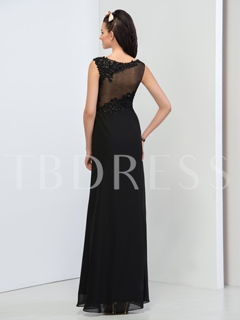 Sheath Scoop Neck Appliques Beading Split-Front Evening Dress