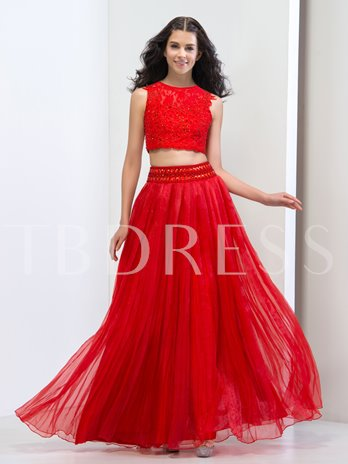Two Pieces A-Line Jewel Neck Lace Beading Crystal Prom Dress