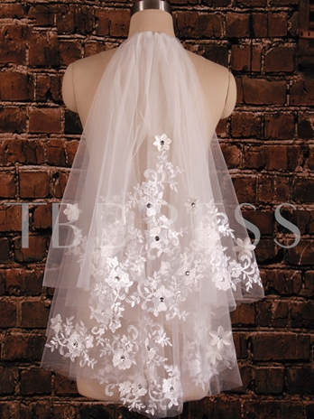 Lace Tulle Bridal Short Veil with Comb