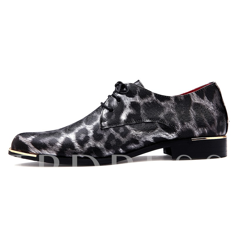 Round Toe Leopard Square Heel Men's Oxfords