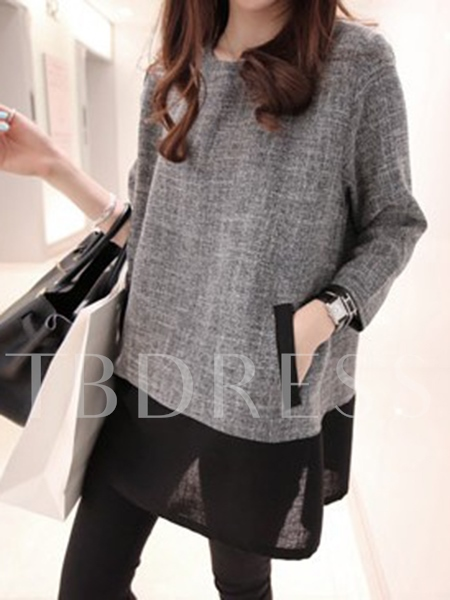 Round Neck Color Block Patchwork Women's Loose T-Shirt