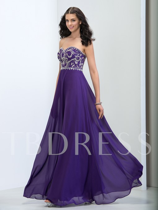 Sweetheart A-Line Beading Zipper-Up Prom Dress