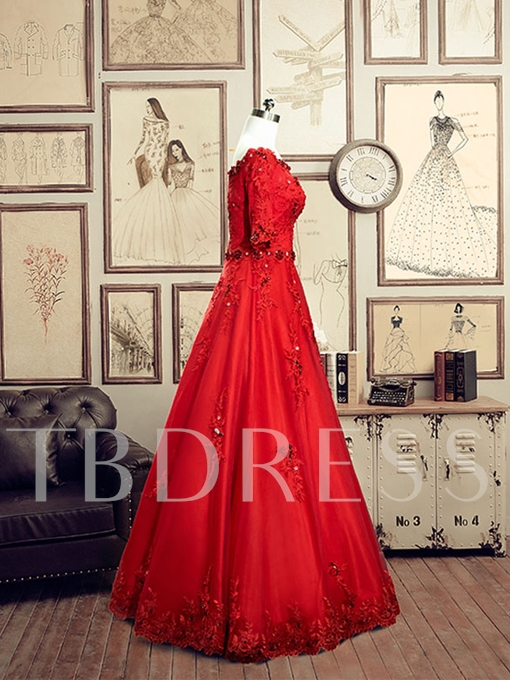 Off-the-Shoulder A-Line Half Sleeve Rhinestone Flower Lace Evening Dress