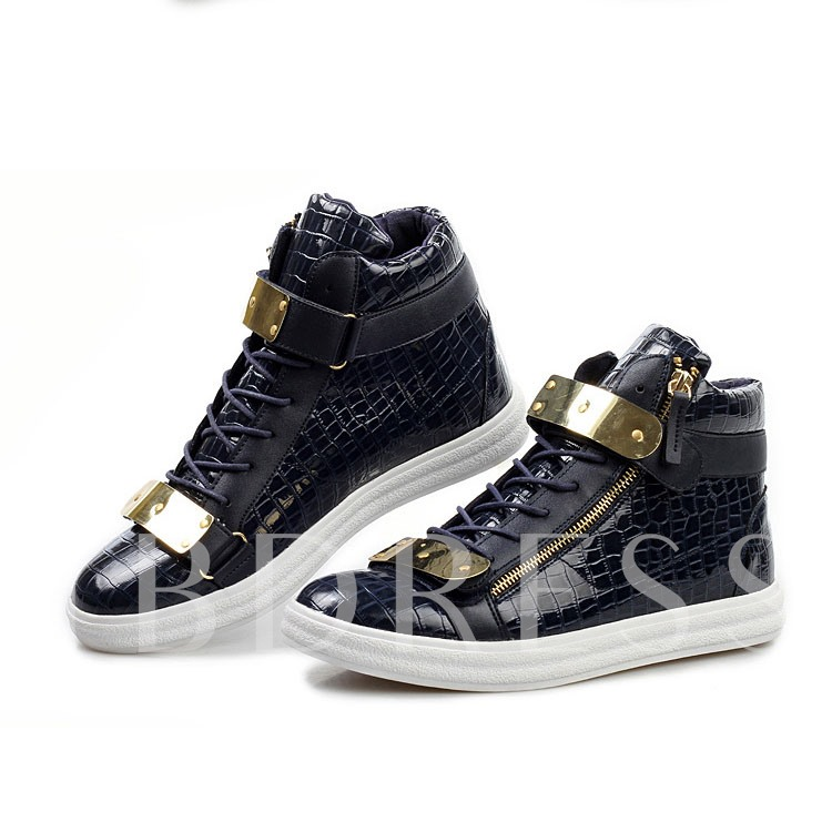 Round Toe Sequins Lace-Up Front Flat Heel Men's Ankle Sneakers
