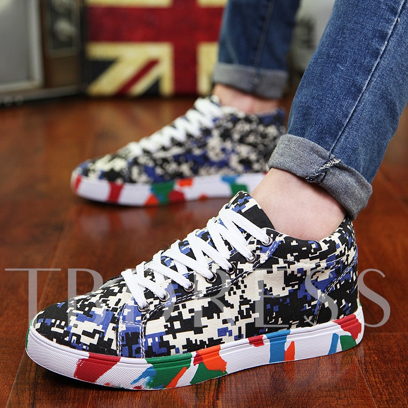Camouflage Round Toe Lace-Up Front Flat Heel Men's Sneakers